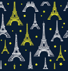 Black white and yellow eiffel tower vector