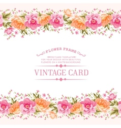 Border of flowers in vintage style vector