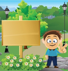 Boy in Park with Sign 1 vector