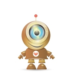 Brown cartoon robot isolated on white vector