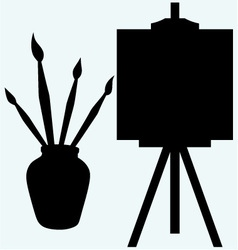 Brushes in vase and easel with empty canvas vector image