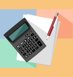 calculator and pen vector image