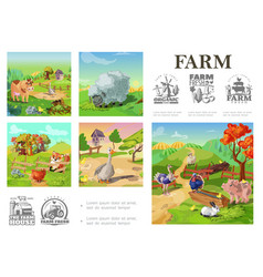 cartoon farm animals colorful composition vector image