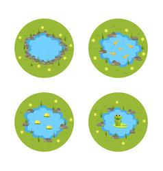 Cartoon garden pond with water vector