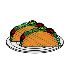 color crayon stripe cartoon tacos on plate mexican vector image