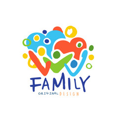 Colorful happy family logo with people and hearts vector