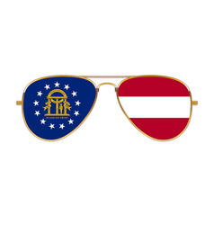 Cool aviator sunglasses with georgia state flag vector