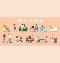 Coronavirus quarantine stay at home people vector