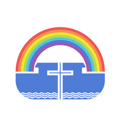 cross on background ark and rainbow vector image