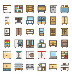 Cupboard and cabinet interior furniture filled vector
