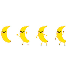 cute kawaii style banana fruit icon eyes closed vector image