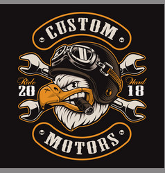 eagle biker t-shirt design color version vector image