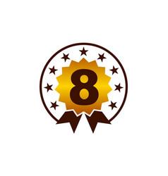 Emblem best quality number 8 vector