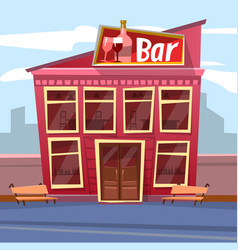 Exterior bar building dining place vector