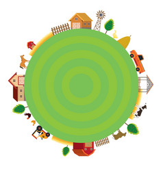 Farm with animals and objects round frame vector