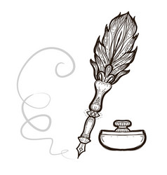feather fountain pen coloring book vector image
