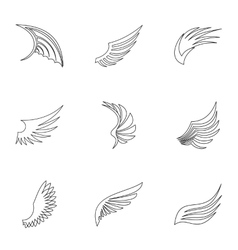 Feather wings icons set outline style vector