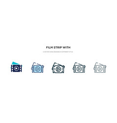 film strip with play triangle icon in different vector image
