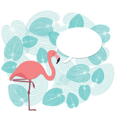 Flamingo and leaves vector