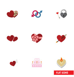 Flat icon amour set key fire wax soul and vector