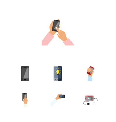 Flat icon touchscreen set of accumulator vector
