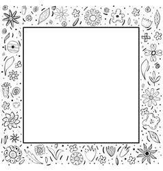 flowers composition in doodle style vector image