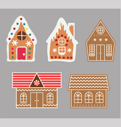 Gingerbread house cookie set vector