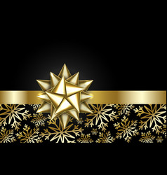 gold bow isolated on black background shiny vector image