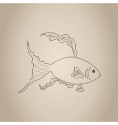 gold fish sketch vector image