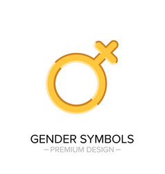 golden woman gender symbol isolated on white vector image