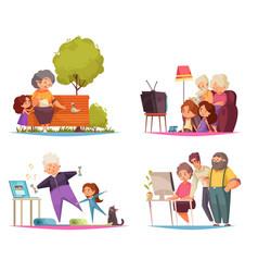 Grandma and grandpa concept icons set vector