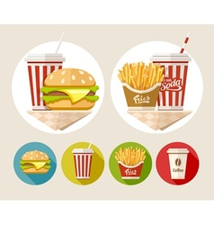 Hamburger french fries and vector image
