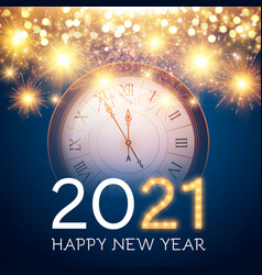 Happy new 2021 year background with clock vector