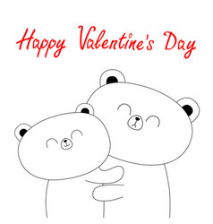 happy valentines day bear hugging couple family vector image