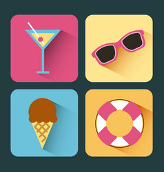 hello summer icon set background vector image