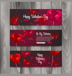 horizontal banner set with balloons shape of heart vector image