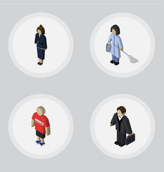 isometric person set of guy housemaid vector image