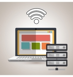 laptop wifi data base vector image