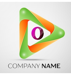 Letter O logo symbol in the colorful triangle on vector