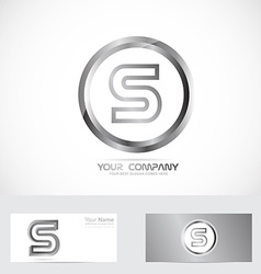 Letter S silver ring logo vector image