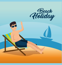 man relaxing on the beach design vector image