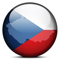 Map on flag button of Czech Republic vector image