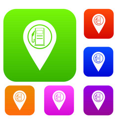 map pointer with gas station symbol set color vector image