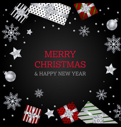 merry christmas background silver red wallpaper vector image