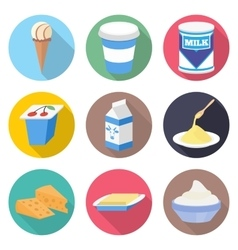 Milk products icon set vector