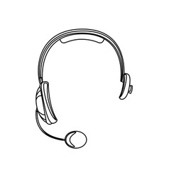 Monochrome silhouette of hands free headset icon vector