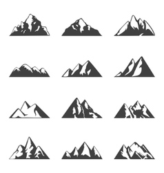 Mountain set Simple black and white icons vector