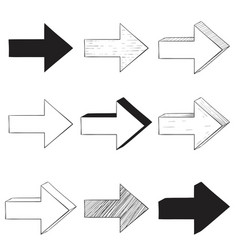 next arrows set black and white signs vector image