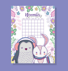 November calendar information with penguin and vector