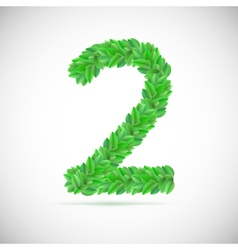 Number two made up of green leaves vector image